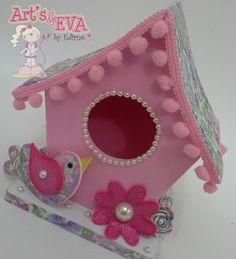♥ Ateliê by Edirna ♥ Birdhouse Craft, Diy Bird Feeder, Spring Crafts, Bird Houses, Diy For Kids, Origami, Diy And Crafts, Fancy, Homemade