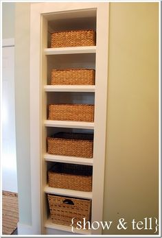 Small closet storage ideas studs 23 ideas for 2019 Laundry Room Diy, Tiny Bathroom Storage, Small Closet Storage, Built In Shelves, Linen Closet, Bathroom Closet Designs, Small Remodel, Closet Remodel, Bathroom Storage
