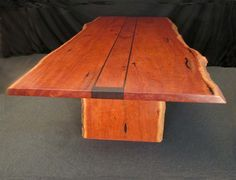 Stunning Red Gum Slab Table with natural edge & ancient red gum inlay.