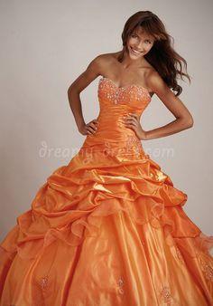 Floor-Length Taffeta Ball Gown Sweetheart Natural Waist Quinceanera Dress with Cascading Ruffles