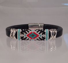 Seed Beaded Black Leather Bangle by Calisi on Etsy, $40.00