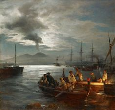 Fisher at the Gulf of Naples (also known as Fischer im Golf von Neapel) Oswald Achenbach - Date unknown Moonlight Painting, Naples Italy, Nautical Art, Landscape Photographers, Ancient Art, Landscape Paintings, Oil Paintings, Landscapes, Painting & Drawing