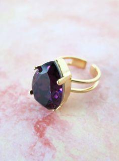 Amethyst Swarovski Crystal Teardrop adjustable ring - 14k plated gold adjustable ring, chic statement bold ring, sparkly ring, silver, brass...