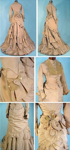 Day dress ca. 1873. Beige silk taffeta and velvet. Antique Dress via The Wayback Machine