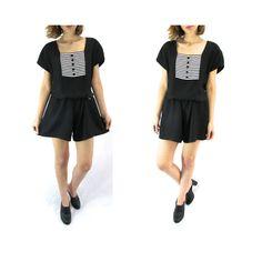 90s Black T-Shirt Romper S/M  Short Romper Small by ColonyVtg