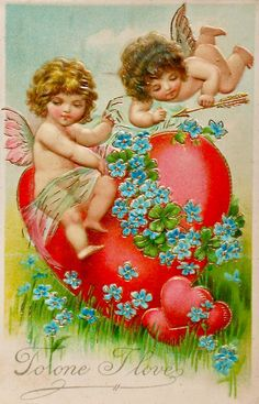 Valentine Postcard of Cherub Angels with Large Heart Flowers and Arrow Valentine Cupid, Valentine Images, Valentines Greetings, Valentine Greeting Cards, Vintage Valentine Cards, Valentine Crafts, Vintage Cards, Vintage Postcards, Victorian Valentines