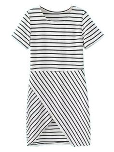 Shop Black And White Stripe Short Sleeve Wrapped Dress from choies.com .Free shipping Worldwide.$27.99