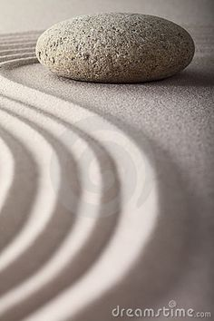 Japanese zen garden raked sand stone meditation by Dirk Ercken / Dreamstime