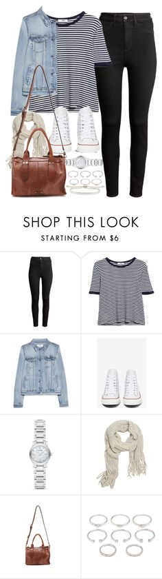 """Outfit for college with black jeans and Converse"" by ferned ❤ liked on Polyvore featuring H&M, MANGO, Converse, Burberry, With Love From CA, Forever 21 and Monica Vinader"