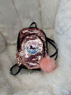 J Justice Girls Pearl Initial Mini Mini Backpack Silver Irridescent Pom Pom Bag