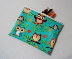 Owls on Blue Fabric Make Up Bag or Pencil Case - Free P&P £7.50