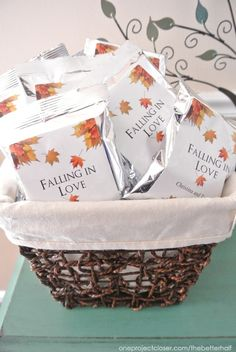 Fall Bridal Shower Ideas: Pumpkins and Jars! Falling in love theme  -------------------- PIN FROM: http://www.oneprojectcloser.com/fall-bridal-shower-ideas/    --------------------   Find hot chocolate favors here:  http://www.favorsbyserendipity.com/hot-chocolate-favors/hot-chocolate-favors.html?cs=Wedding_Favors_Theme_Fall