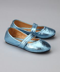 Love this Blue Metallic Tropical Breeze Leather Ballet Flat by 2 Scoops Shoes on #zulily! #zulilyfinds