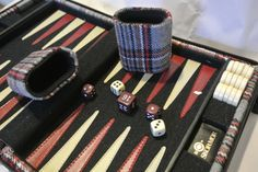 Vintage Travel Size Backgammon Board, Skor-mor Backgammon Set. Plaid Covered Game Set. - pinned by pin4etsy.com