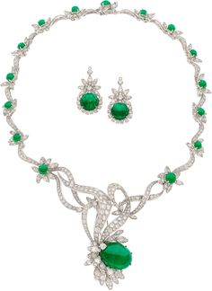 Diamond, Emerald and White Gold Necklace and Earrings