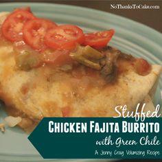 Jenny Craig Volumizing Chicken Fajita Burrito with Green Chile   No Thanks to Cake