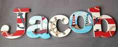 Nautical Wooden Wall Name Letters / Hangings, Hand Painted for Boys Rooms, Play Rooms and Nursery Rooms by CariBimbi on Etsy https://www.etsy.com/listing/129370646/nautical-wooden-wall-name-letters