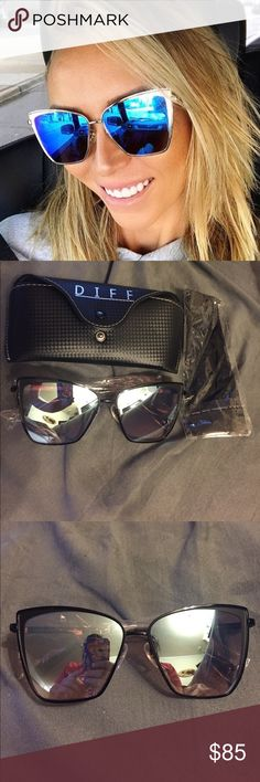 Diff Becky sunglasses Sold out online! Brand new out of box. These are black frames with gray lenses. Comes with case and cleaning cloth. Diff Eyewear Accessories Sunglasses