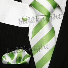 Love this!!  White & Green Striped Silk Tie Set; it's spring time