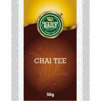 Chai Tee 50 g Chai čaj je luxusnou zmesou čierneho čaju a korenín. Je vhodný pre všetkých, ktorí radi skúsia niečo nové. V jednom balení nájdete 50 g 100% prírodných čajových lístkov a zmes korenín. Neobsahuje žiadne éčka ani konzervačné látky.