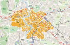 """The area in orange is what the city's bylaws delineate as within the Aurelian walls, i.e. Rome's """"center.   Flat fee 48 Euros for Airport Taxi"""