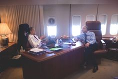 Air Force One, Interior. President Barack Obama with Interior Secretary Ken Salazar on Air Force One in February 2009.