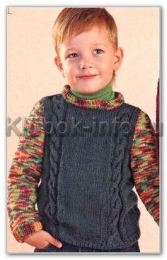 Вязание спицами. Однотонный пуловер с меланжевыми рукавами и узором косы для мальчика 4-5 лет