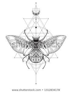 Hand drawn vector esoteric symbol, bug with sacred geometry.You can find Sacred geometry art and more on our website.Hand drawn vector esoteric symbol, bug with sacred geometry. Esoteric Tattoo, Esoteric Art, Bug Tattoo, Insect Tattoo, Scarab Beetle Tattoo, Sacred Geometry Tattoo, How To Draw Sacred Geometry, Sacred Geometry Symbols, Occult Art
