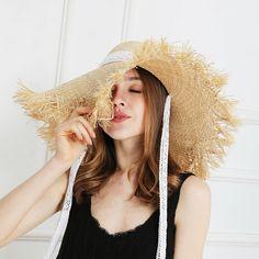 6708d0a78be01 2019 Lace Strap Straw Female Hat Sombrero de Paja Ala Ancha Cinta Encaje  Playa  JIYOUOU  WideBrim  Beach