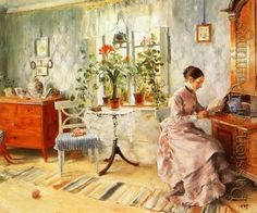 Carl Larsson: An interior with a woman reading #art