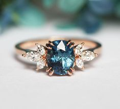 Blue Sapphire Engagement Ring Rose Gold, Blue Cushion Sapphire and Diamond Ring, Unique Blue Engagement Ring - Jewelry - ring boho fashion for teens vintage wedding couple schmuck verlobung hochzeit ring Unique Diamond Rings, Rose Gold Diamond Ring, Diamond Wedding Bands, Unique Rings, Gold Ring, Black Diamond, Purple Diamond, Diamond Heart, Silver Rings