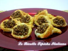 Cornucopie di pasta sfoglia con lenticchie