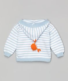 This Blue & White Stripe Crab Hooded Cardigan - Infant by Victoria Kids is perfect! #zulilyfinds