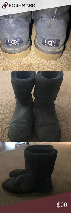 Ugg boots Navy blue Ugg boots. Size 9. Great condition but need cleaned have been sitting for a couple years collecting dust. Comfy and warm and a great color to match with your favorite sports team attire or accessorize with any navy color blend. UGG Shoes Winter & Rain Boots