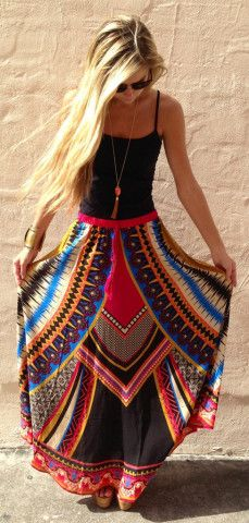 Vibrant maxi skirts.