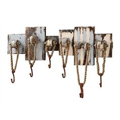 Coastal Cape Cod Beach Cottage Hook Board - Distressed Hanger Board - 32-1/2-in Wood Wall Decor with 7 Hooks