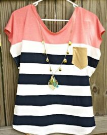 Tutorial: Color blocked Nautical Diva top- could do this to 2 old tops to make a longer maternity top