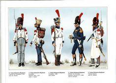 Westphalia; Line Infantry, L to R Grenadier Corporal 1811, Grenadier in Spain 1810-11, Grenadier 1808, Grenadier Officer in Spain 1809 & Sapper Corporal.