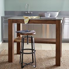 35 ideas kitchen island table height storage for 2019 Industrial Kitchen Island, Kitchen Island Table, Industrial Stool, Kitchen Stools, Kitchen Decor, Kitchen Islands, Kitchen Ideas, Industrial Kitchens, Industrial Furniture