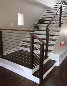 Modern Stair Railing - Contemporary Wood and Stainless Round Bar Railing - Home Decoration Wooden Staircase Design, Interior Stair Railing, Modern Stair Railing, Home Stairs Design, Stair Railing Design, Wooden Staircases, House Design, Stairways, Modern Stairs Design