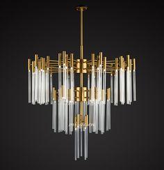 MI-GO米高家居,现代拉丝钛金不锈钢玻璃吊灯,Modern titanium gold stainless steel glass chandelier