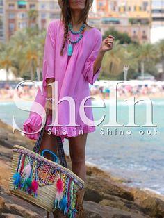 Rose+Red+Flounce+Hem+Fringe+Backless+Shift+Dress+17.99 #summershiftdress