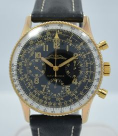 Vintage Breitling 806 Navitimer AOPA Chronograph Gold Stainless Steel Wristwatch $3950 40mm