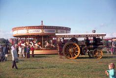 Burrell showmans engine burtonwood steam rally 1970s.