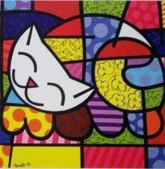 Happy Cat by Romero Britto. Pintura Graffiti, Graffiti Painting, Graffiti Art, Painting For Kids, Art For Kids, Splat Le Chat, Mosaic Patterns, Cat Art, Art Lessons