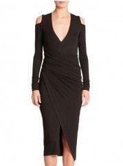 Exquisite V Neck Plain Stylish Bodycon-dress