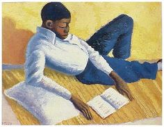Schoolgirls Portrait of a young man reading In the Orlando train Gerard Sekoto born December 1913 in Botshabelo near M. Gerard Sekoto, Yuri, Social Realism, How To Read People, South African Artists, Africa Art, Dope Art, Portraits, Figure Painting
