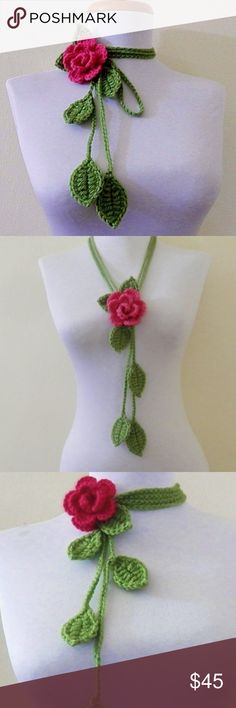 Unique New Handmade Boho Floral Scarf Necklace Hand crocheted using soft pink and green yarn, this beautiful necklace is an original from a local artist and is one-of-a-kind!  Unique and stylish, it can be worn a variety of ways and even in the hair.  This retails for $100 at the boutique where my friend usually sells her items so this price is a steal!  I will not be getting more so get it before it's gone... Since it is handmade it does not have tags, but it is brand new. Handmade Jewelry…