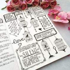 Black and white doodling and quotes in my bullet journal love birds plan with me flowers roses orchids arrows, My Paperblank