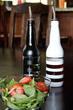 Oil and Vinegar bottles made from painted old beer bottles.
